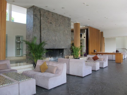 Padma hotel Bandung - fireplace in the lobby